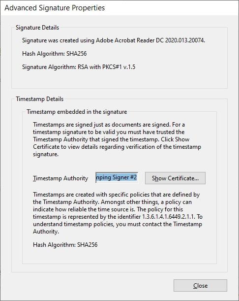 Adobe Acrobat Timestamping info