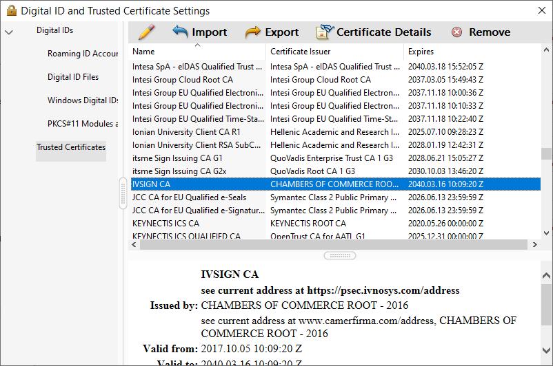 Adobe Acrobat Trusted Certificate Settings