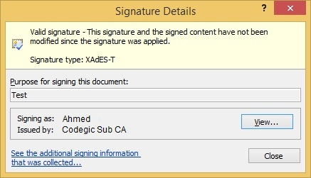 Microsoft Office Timestamped Signature