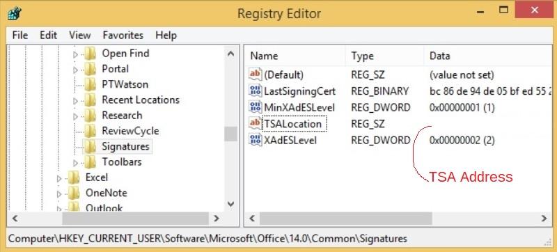Microsoft Office - timestamping - registry settings