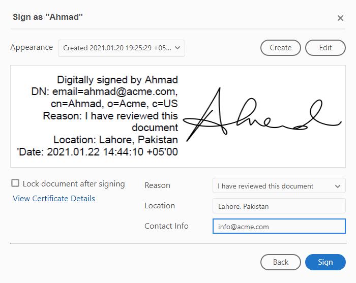 PDF signing information at signing time