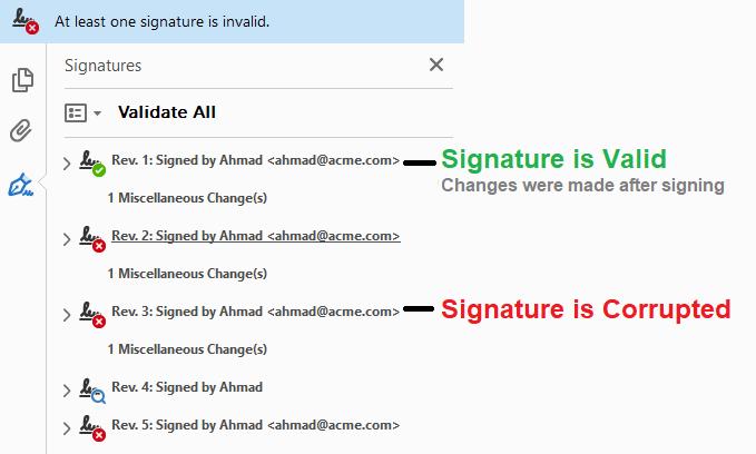pdf signature verification statuses