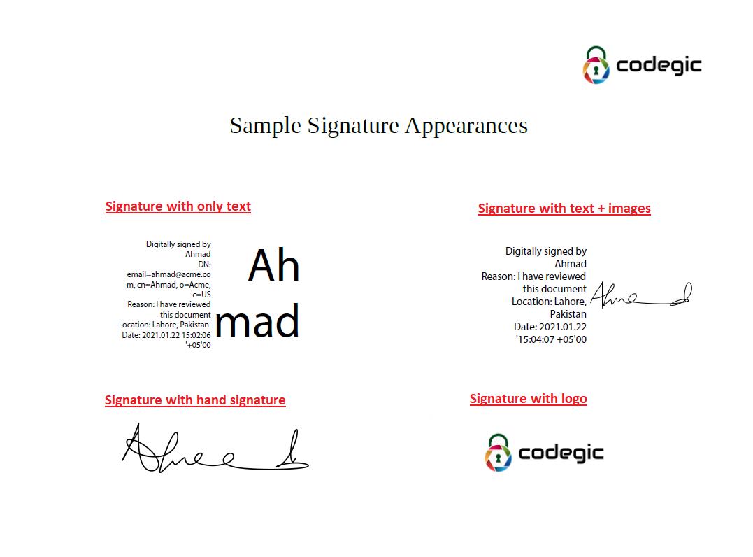 sample PDF signature appearances