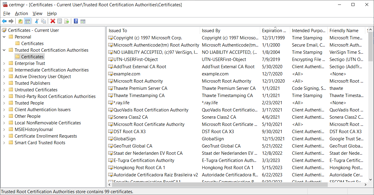 Trusted Root Certification Authorities in Windows 10